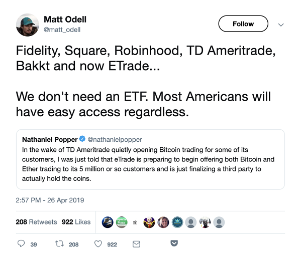 Tweet about ETF for Crypto