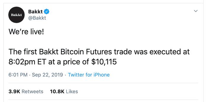 Crypto Markets - First Bakkt Bitcoin Futures Trade Was Executed